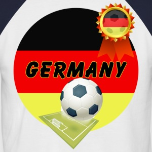 Germany Football Team supporter pitch & Rosette - Men's Baseball T-Shirt