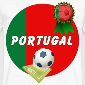 Portugal Football Team Supporter Rosette Ball & Pitch  - Men's V-Neck T-Shirt