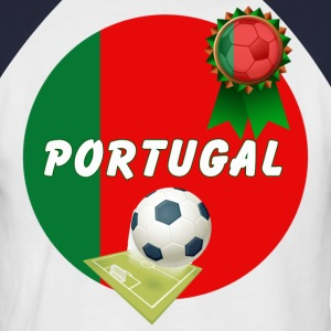 Portugal Football Team Supporter Rosette Ball & Pitch  - Men's Baseball T-Shirt