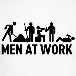men at work - construction area - worker hard working Tee shirts manches longues - T-shirt baseball manches longues Homme