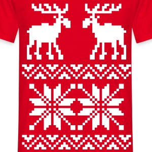 Moose Pattern Christmas Sweater T-Shirts - Men's T-Shirt