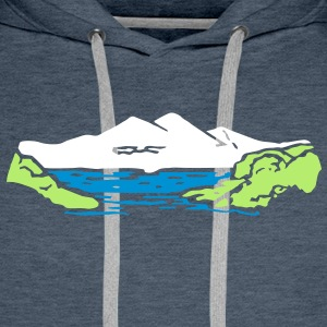 Alm mountain lake mountains t- shirt, tshirt Hoodies & Sweatshirts - Men's Premium Hoodie
