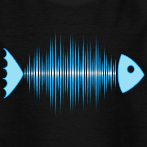 fish skeleton - music wave - DD blue Shirts - Kinderen T-shirt