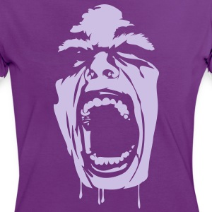 Lilla/hvid screaming_face T-shirts - Dame kontrast-T-shirt