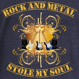 Rock and Metal stole my soul - yellow Hoodies & Sweatshirts - Women's Boat Neck Long Sleeve Top