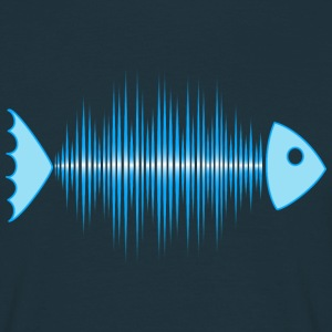 fish skeleton - music wave - DD blue T-shirts - Mannen T-shirt