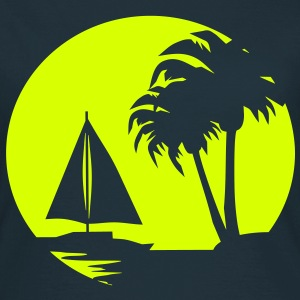 Sail boat and Palm Trees - Women's T-Shirt