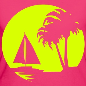 Sail boat and Palm Trees - Women's Organic T-shirt