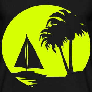 Sail boat and Palm Trees - Men's T-Shirt