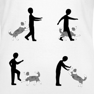 Vier Bilder Pixel dog dancing Border Collie T-Shirts - Frauen T-Shirt
