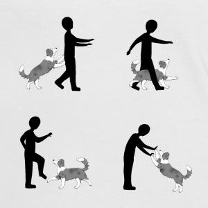 Vier Bilder Pixel dog dancing Border Collie T-Shirts - Frauen Kontrast-T-Shirt