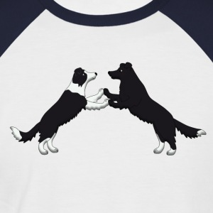 dog dancing pixel Border Collies T-Shirts - Men's Baseball T-Shirt
