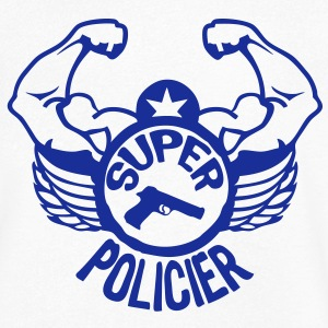 super policier bras muscle tampon2 logo30 Tee shirts - T-shirt Homme col V