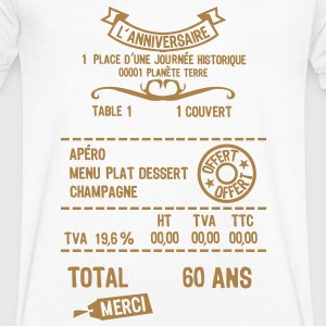 60 ans addition note resto restaur fact Tee shirts - T-shirt Homme col V