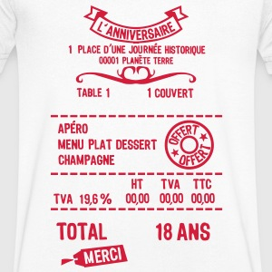 18 ans addition note resto restaur fact Tee shirts - T-shirt Homme col V