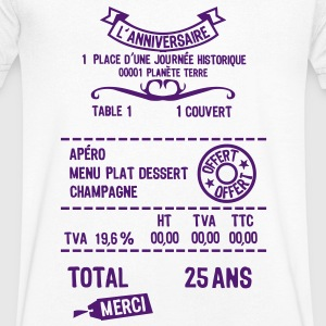 25 ans addition note resto restaur fact Tee shirts - T-shirt Homme col V