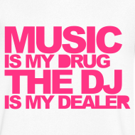 Ontwerp ~ Men V-hals: Jeff Residenza - Music Drug (neon pink)