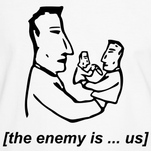 Weiß/schwarz the enemy is us T-Shirt - Männer Kontrast-T-Shirt