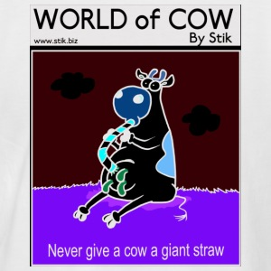 White/navy Cow and Straws. Men's Tees - Men's Baseball T-Shirt