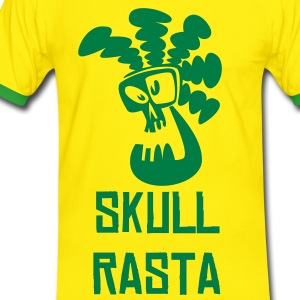Yellow/green Skull Rasta Men's Tees - Men's Ringer Shirt
