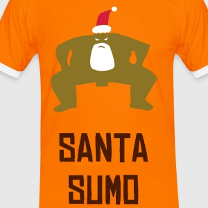 Orange/black SUMO SANTA T-Shirts - Men's Ringer Shirt