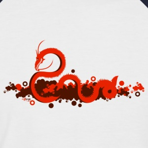 Blanc/rouge Dragon rouge Hommes - T-shirt baseball manches courtes Homme