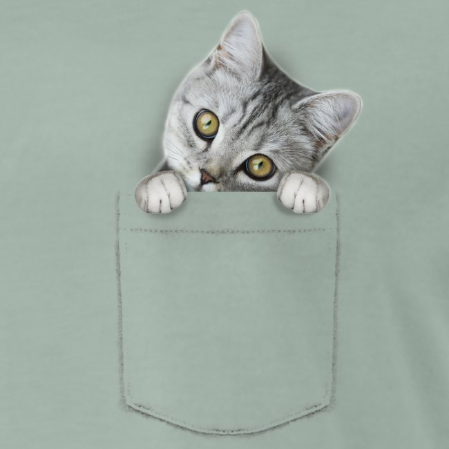 Funny t-shirt met katje in het borstzakje
