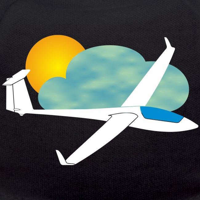 Segelflugzeug mit Sonne und Wolke