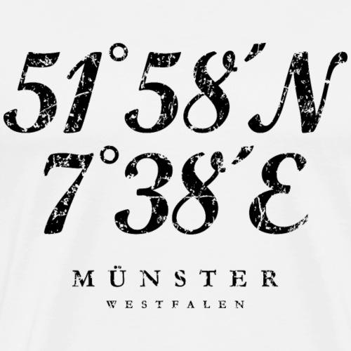 Münster Westfalen Koordinaten (Vintage Schwarz)