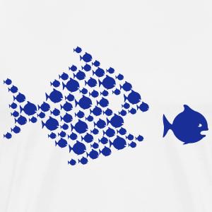 viele Fische jagen großen Fisch