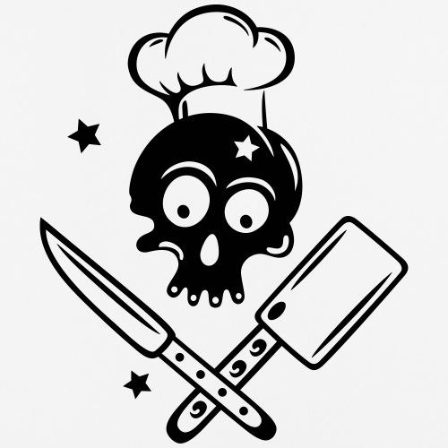 Totenkopf mit Kochmütze und Messern, kochen