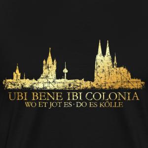 Kölner Skyline mit römischem Köln Spruch