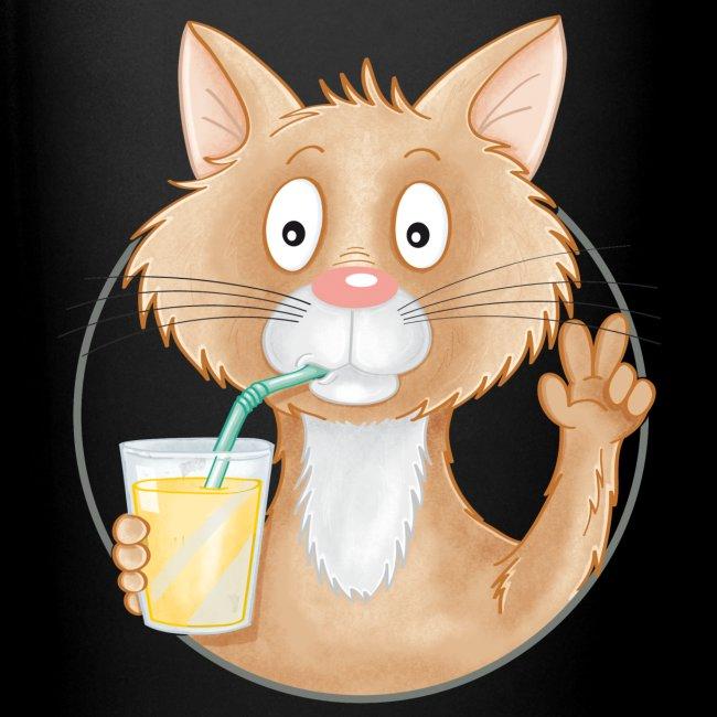 Katze mit Limonade - Tasse farbig