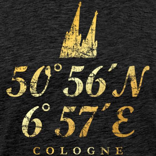 Köln Kölner Dom Koordinaten (Vintage Gold)