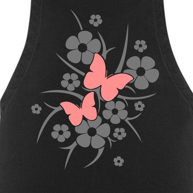 Schmetterlings-Blumen - Kochschürze schwarz