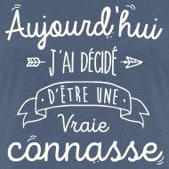 Tee shirt Vraie connasse bleu chiné par Tshirt Family