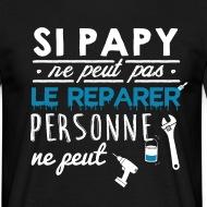 T-shirt Si papy ne peut pas personne ne peut - bleu noir par Tshirt Family