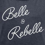 T-shirt Belle et rebelle bleu marine chiné par Tshirt Family