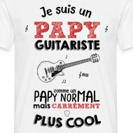 T-shirt Papy guitariste carrément plus cool blanc par Tshirt Family