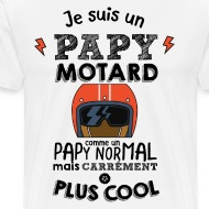 Tee shirt Papy motard carrément plus cool blanc par Tshirt Family
