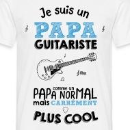 T-shirt Papa guitariste carrément plus cool blanc par Tshirt Family