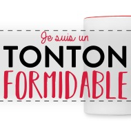 Mug Tonton fomidable blanc/rouge par Tshirt Family