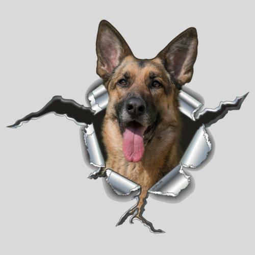 Schäferhund im Metall Loch