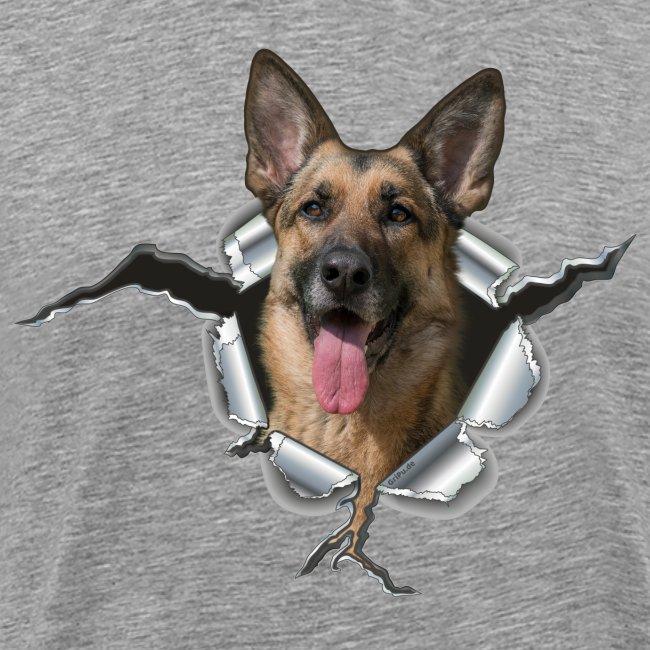 Deutscher Schäferhund im Metall Loch