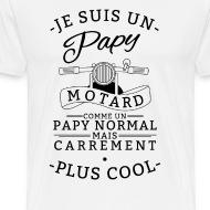 Tee shirt papy motard blanc par Tshirt Family