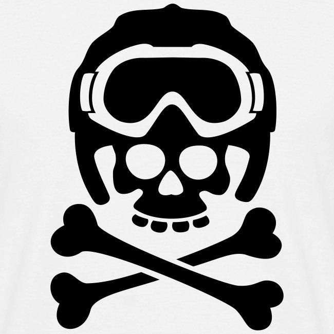 Totenkopf mit Skihelm und Skibrille