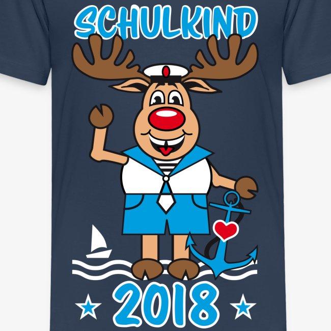 Schulkind 2018 Hirsch Rudi Matrose Anker T-Shirt 10
