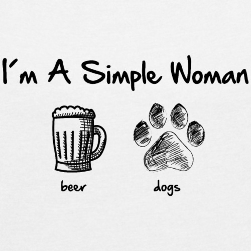 simple woman dogs beer