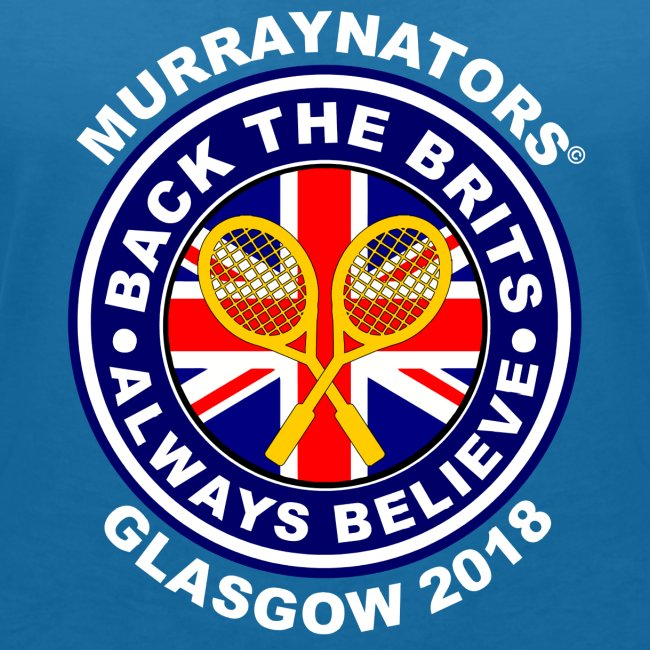 Murraynators - Davis Cup Glasgow - Ladies' V-Neck T. Blue.