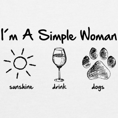 simple woman dogs drink